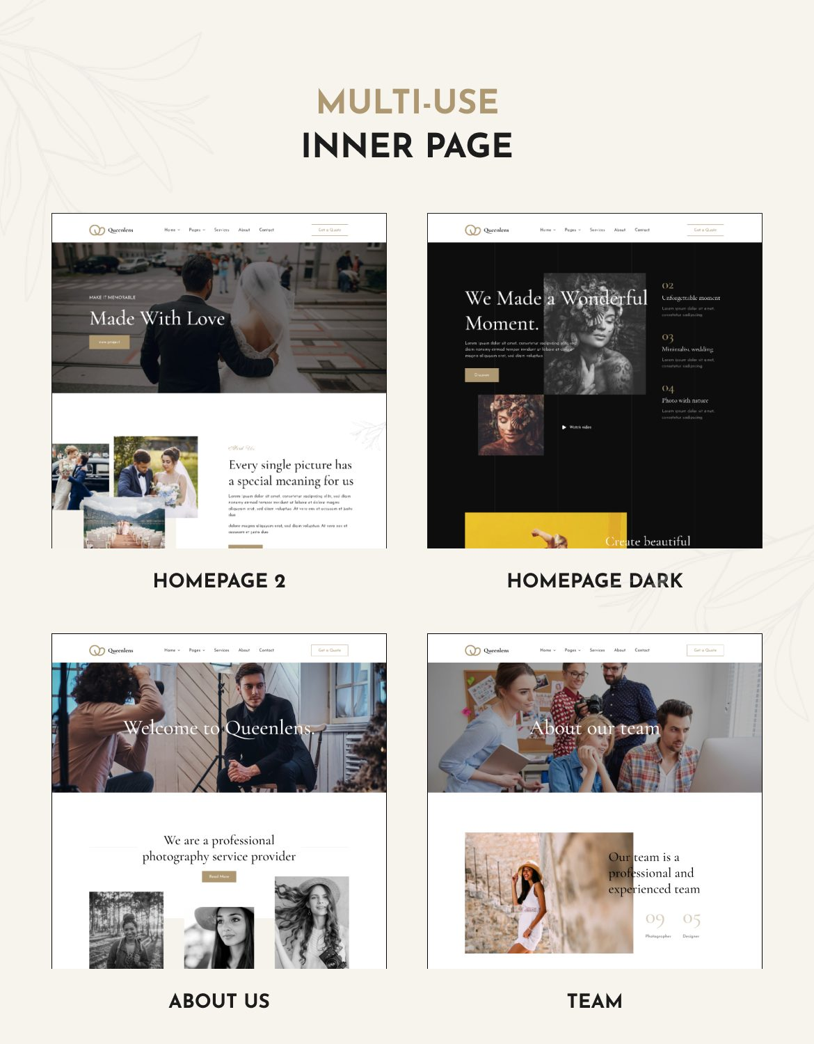 Queenlens | Photography & Event Elementor Template Kit - 2