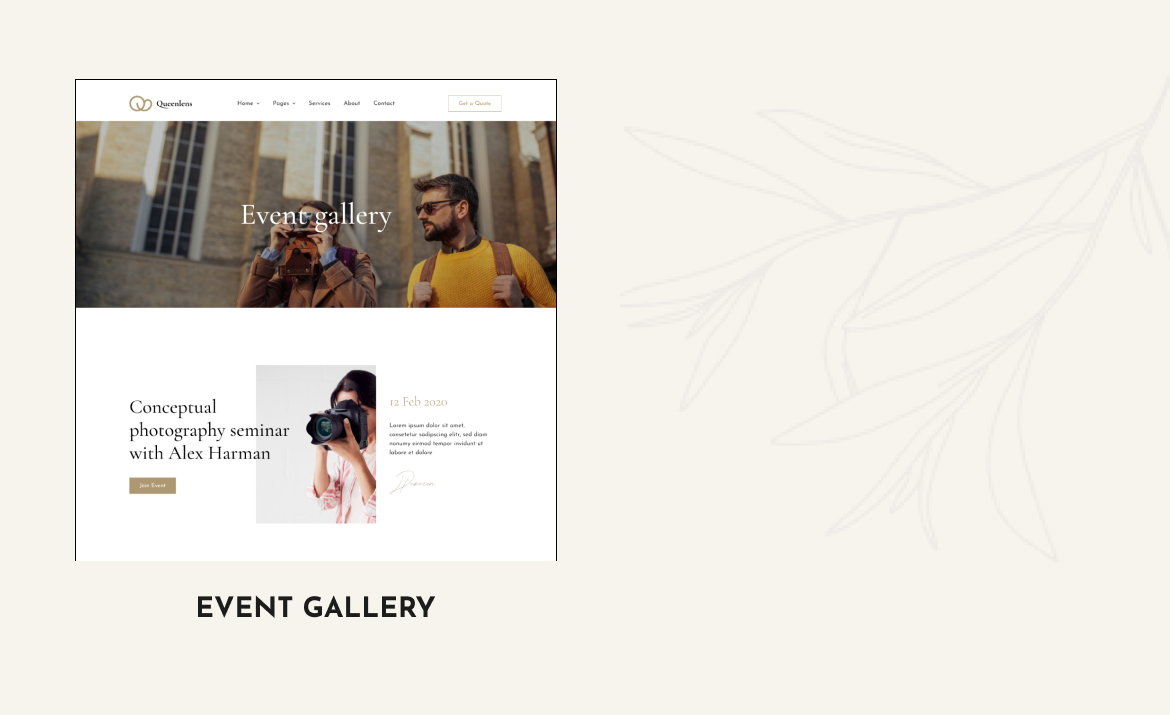 Queenlens | Photography & Event Elementor Template Kit - 4
